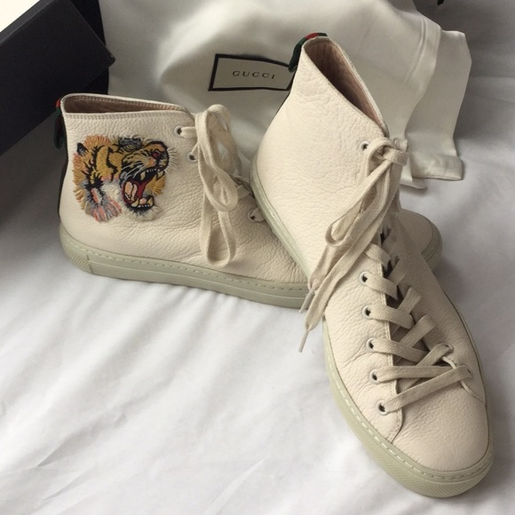 Other - Authentic Gucci Tiger White High Top Sneaker